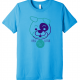 Adult Woodmere Dog Park Tee with purple and teal dog.